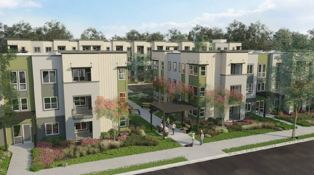 A rendering of the proposed College Creek Apartments complex, a 164-unit affordable housing development proposed by USA Properties Fund for 2150 W. College Ave. (City of Santa Rosa)