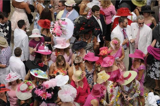 A battle for the most elegant or most outlandish Derby hat.