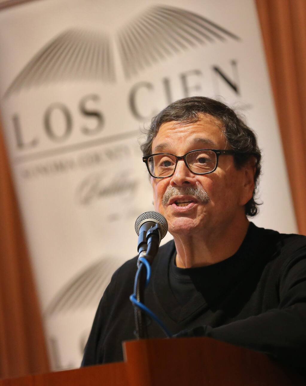 Herman J. Hernandez addresses the crowd during a Los Cien luncheon in Santa Rosa on Friday, February 15, 2019. (Christopher Chung/ The Press Democrat)