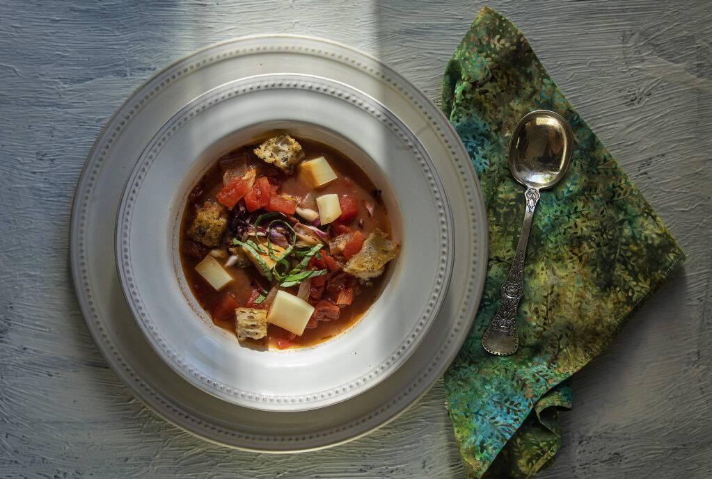 Radicchio soup with smoked goat cheese from Chef John Ash. (John Burgess/The Press Democrat)