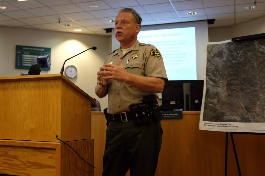 Mendocino County Sheriff Tom Allman addresses reporters during a news conference in Ukiah on Thursday, Nov. 9, 2017. (NICK RAHAIM/Press Democrat)