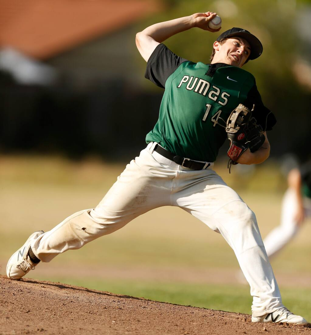 Maria Carrillo's Connor Charpiot pitches in an NCS playoff game in 2018. (Alvin Jornada / The Press Democrat)