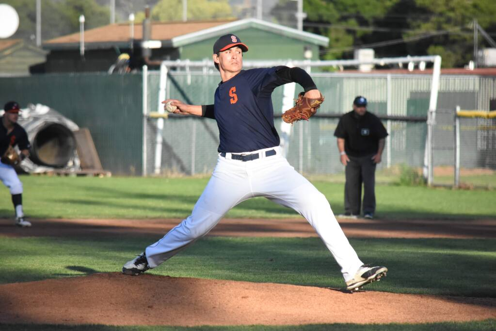 Right-handed pitcher Henry Omana threw four solid innings in the June 2 victory over the Napa Silverados, 9-4. (James W. Toy III / Sonoma Stompers)