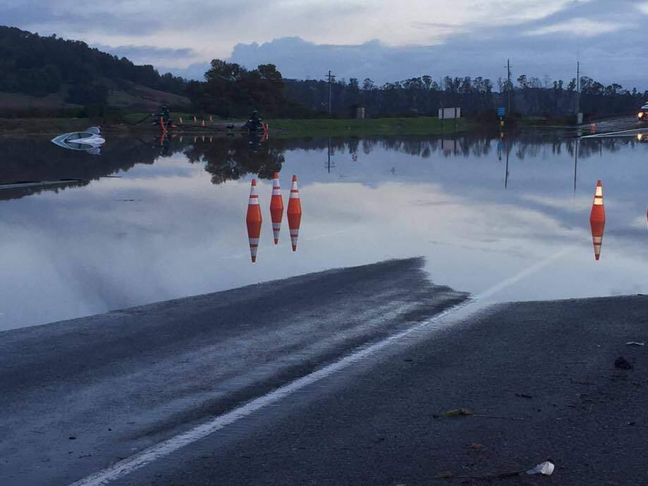 Part of Highway 37 in Marin County is closed due to flooding, Monday, Jan. 23, 2017. (WWW.FACEBOOK.COM/CHPMARIN)