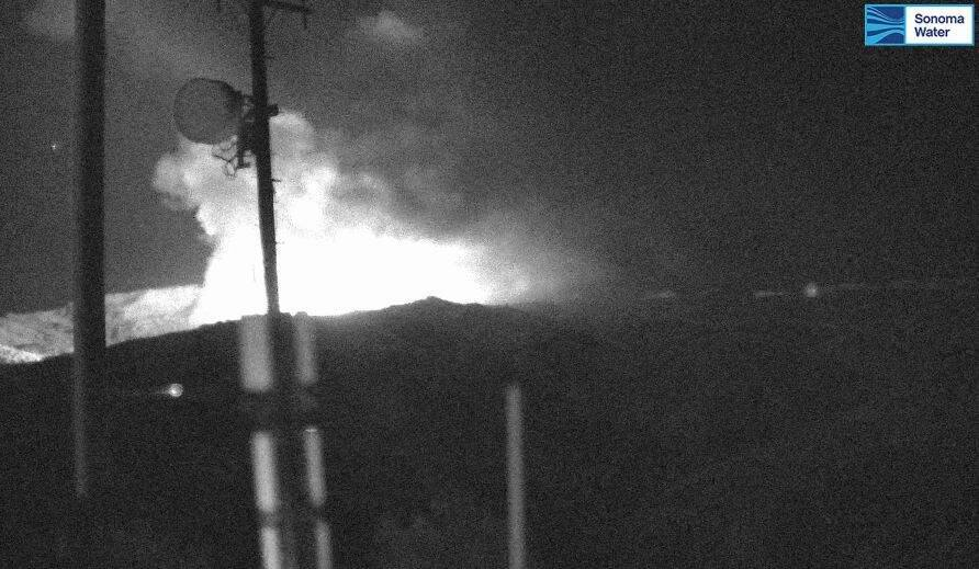 A view of the Kincade fire, from a Sonoma County Water Agency camera.