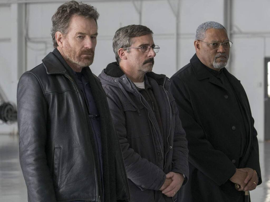 On the road again: Bryan Cranston, Steve Carrel and Laurence Fishburne star in 'Last Flag Flying,' a sequel of sorts to the 1973 hit 'The Last Detail' - both written by Sonoma's Darryl Ponicsan. (Amazon Studios)