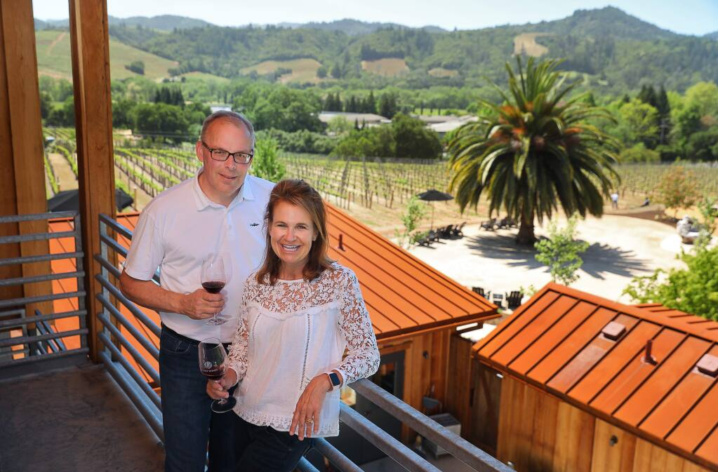 Jack and Ann Seifrick, owners of Cast Wines near Geyserville, have remodeled and expanded their facility with a new tasting room. The couple is hopeful that tourists will return to the area in the aftermath of the 2017 widfires.(Christopher Chung/ The Press Democrat)