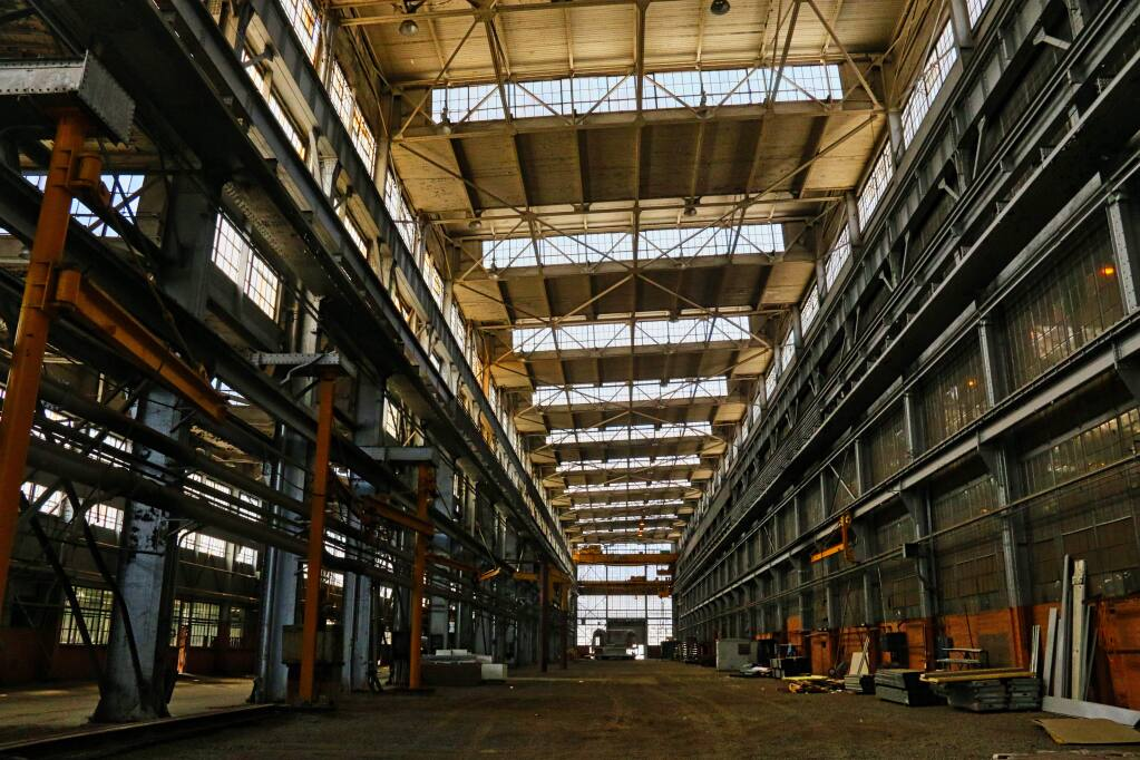 Intermodal Structures gears up to assemble heavy-steel modular classrooms and offices inside this former Navy shipyard manufacturing building on Vallejo's Mare Island. (JEFF QUACKENBUSH / NORTH BAY BUSINESS JOURNAL) June 14, 2018