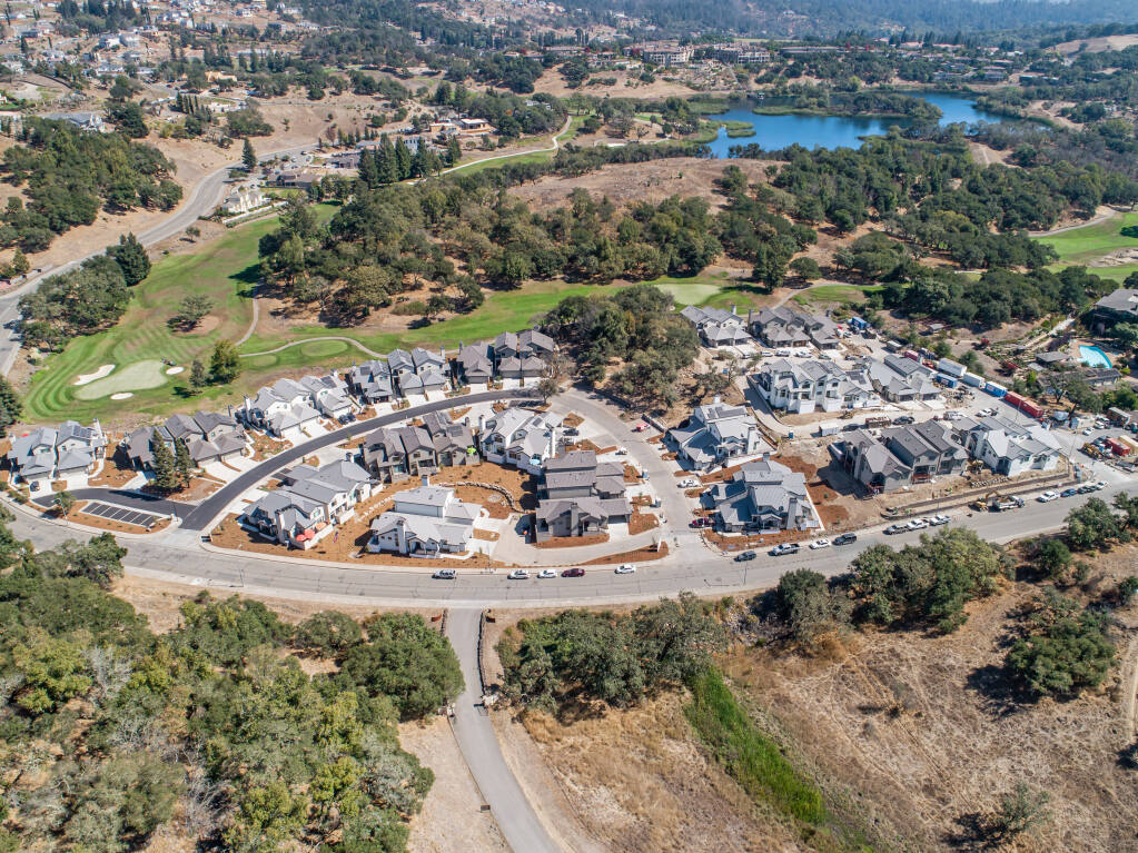 This aerial photo taken Sept. 25, 2020, shows all Oaks at Fountaingrove homes in northeast Santa Rosa nearing completion, now built with fire-resistant building materials such as metal roofs, sealed attics, stucco exteriors, fire-rated windows and fire/drought resistant landscaping. (Courtesy Photo)