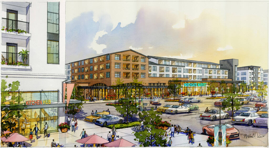 Architectural rendering of some of the 898 apartments and grocery retail that would replace the existing former Sears store in Northgate Mall in San Rafael. The first phase is anticipated to get into construction in 2025. (courtesy of Merlone Geier, February 2021)