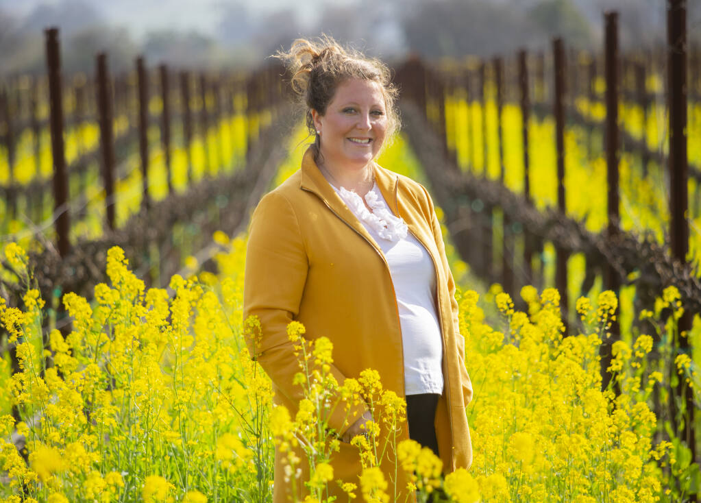 Maureen Cottingham, shown here at Sangiacomo Family Vineyards on March 3, 2021, is stepping down after 17 years as executive director of the Sonoma Valley Vintners and Growers Alliance. Her last day is April 30. (Robbi Pengelly/Index-Tribune)