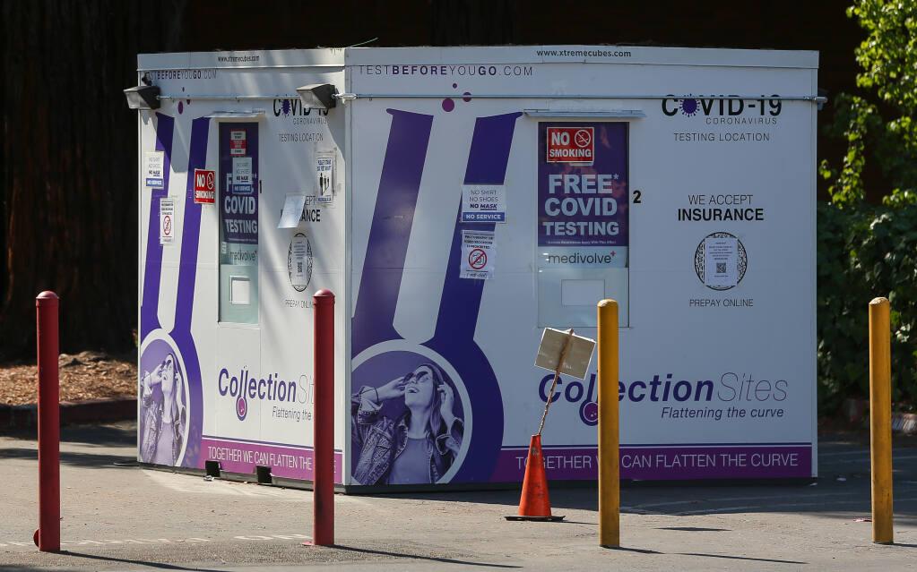 The Medivolve COVID-19 testing site at Santa Rosa Plaza in Santa Rosa on Friday, Sept. 24, 2021. (Christopher Chung/ The Press Democrat)