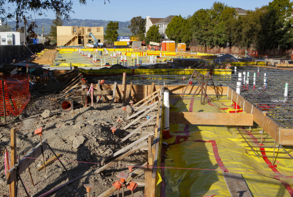 Construction continues on PEP Housing's River City Senior Apartments  on Petaluma Boulevard South on Tuesday, March 2, 2021. (CRISSY PASCUAL/ARGUS-COURIER STAFF)