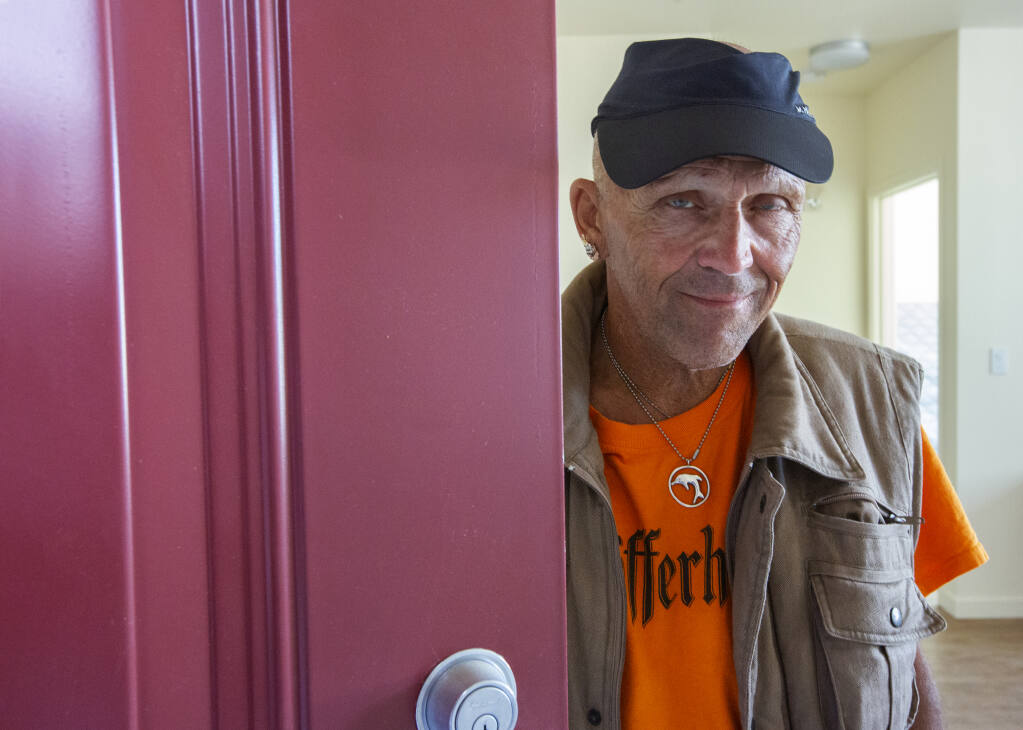 Bob Krah qualified for one of the low-income units at the Alta Madrone development on Broadway. He moved into his one-bedroom apartment on Thursday, June 10, 2021. (Photo by Robbi Pengelly/Index-Tribune)