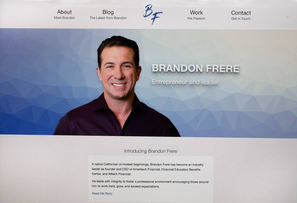 A profile page for Brandon Frere, 43, of Sebastopol, who in December 2019  pleaded guilty to wire fraud and money laundering charges in connection with a scheme that defrauded student loan borrowers of $25 to $65 million. (The Press Democrat, 2019)