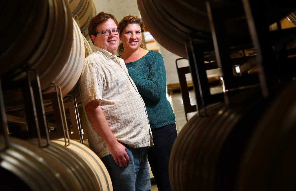 Winemakers Adam Lee and Dianna Novy Lee have sold their Siduri Wines to Jackson Family Wines.(Christopher Chung/ The Press Democrat)