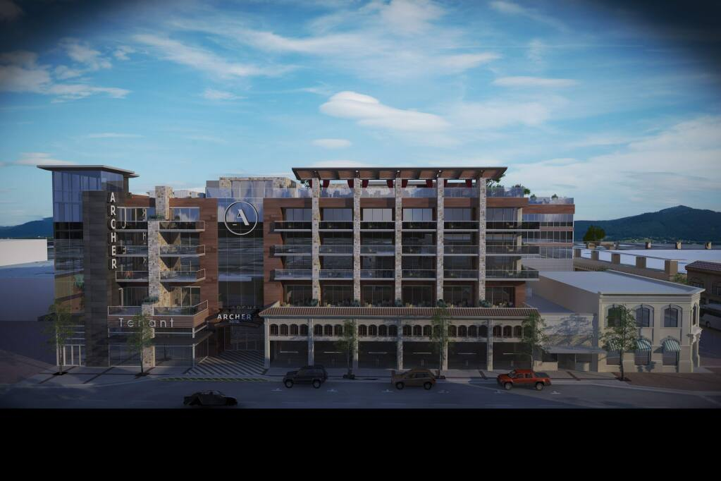 The 183-room Archer Hotel in downtown Napa is scheduled to open in the spring of 2017.