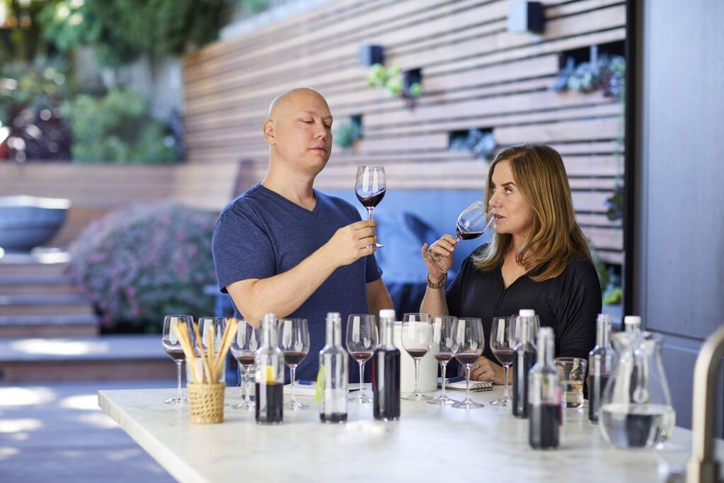 Scott MacFiggen, left, and his wife Regina, are the owners of Sosie Wines - opening soon in downtown Sonoma.