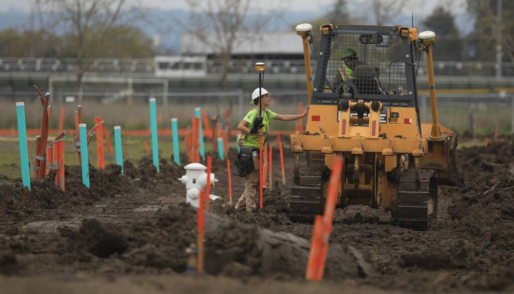 Grading is under way at the Lantana housing project in Santa Rosa, Thursday, April 9, 2020. (Kent Porter / The Press Democrat) 2020