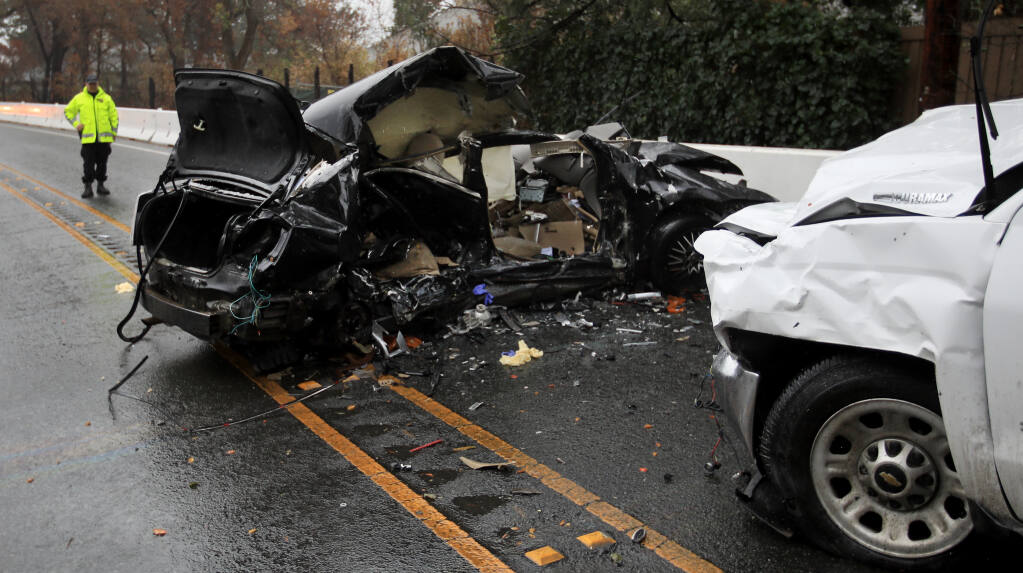 Two people were killed in a collision, Monday, Jan. 4, 2021 on Highway 12 in Oakmont, (Kent Porter / The Press Democrat) 2021