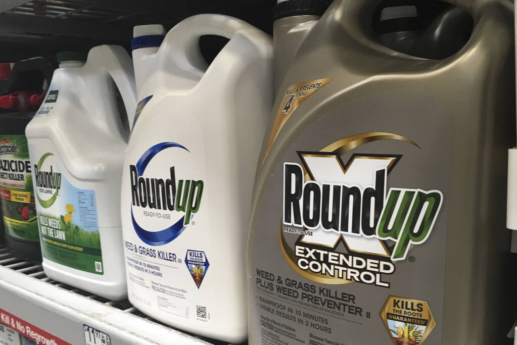 FILE -  In this Feb. 24, 2019, file photo, containers of Roundup are displayed on a store shelf in San Francisco. The Environmental Protection Agency is reaffirming that a popular weed killer is safe for users, even as legal claims mount from people who blame the herbicide for their cancer. The EPA's draft findings Tuesday, April 30, come after two recent multimillion-dollar U.S. court judgments against the herbicide. (AP Photo/Haven Daley, File)