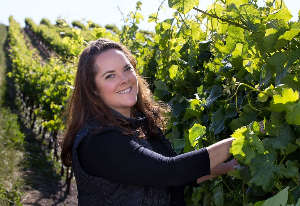 Alison Crowe, author of 'The Winemakers Answer Book,' at Diamond Vineyards near Sonoma in 2017. (DARRYL BUSH/ FOR THE PD)