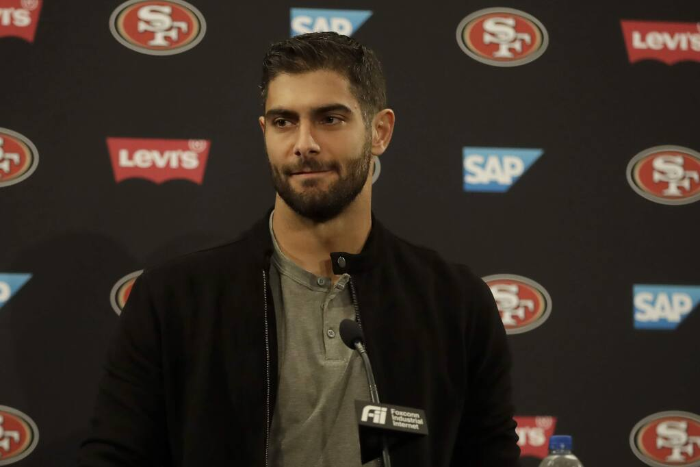 San Francisco 49ers quarterback Jimmy Garoppolo speaks at a news conference after a game against the Seattle Seahawks in Santa Clara, Monday, Nov. 11, 2019. (AP Photo/Ben Margot)