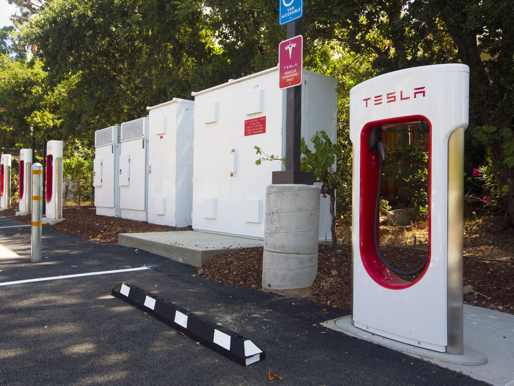 Eight Tesla EV charging stations have been installed on the east side of the Sonoma Community Center on East Napa Street, as of Thursday, July 1, 2021. There are also two universal charging stations in the same area.  (Photo by Robbi Pengelly/IndexTribune)