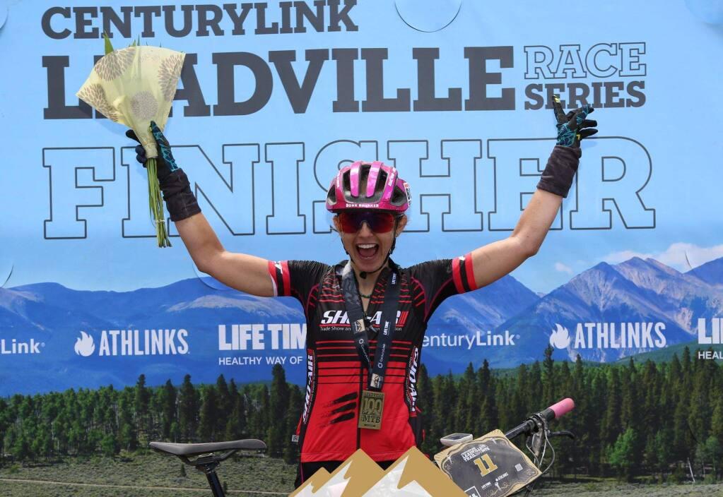 Larissa Connors celebrates after finishing the Leadville 100 mountain bike race Saturday. (CenturyLink Leadville Trail 100 MTB photo)