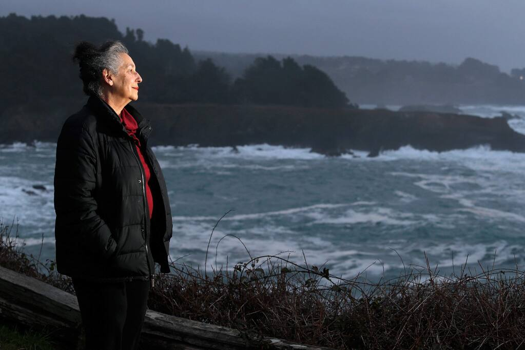 Artist and environmental activist Rachel Binah poses for a portrait overlooking the Russian Gulch State Marine Conservation Area near Mendocino, California, on Wednesday, January 9, 2019. (Alvin Jornada / The Press Democrat)