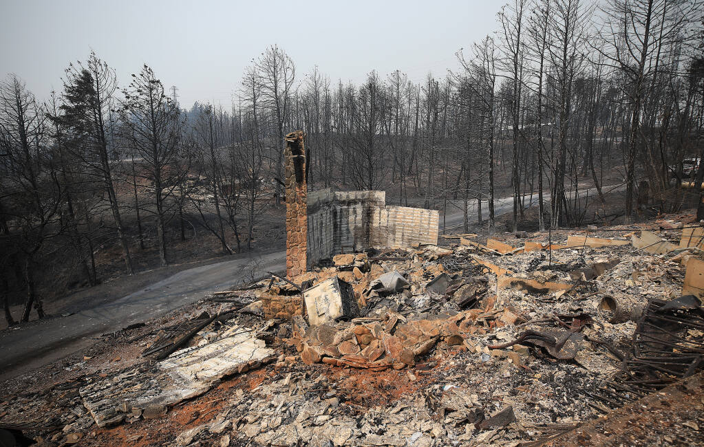 A burned home off Holst Road at Los Alamos Road, Wednesday, Sept. 30, 2020. (Kent Porter / The Press Democrat) 2020