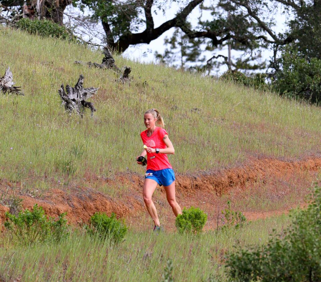 Stephanie Howe of Bend, Ore. runs during the Lake Sonoma 50 Saturday.