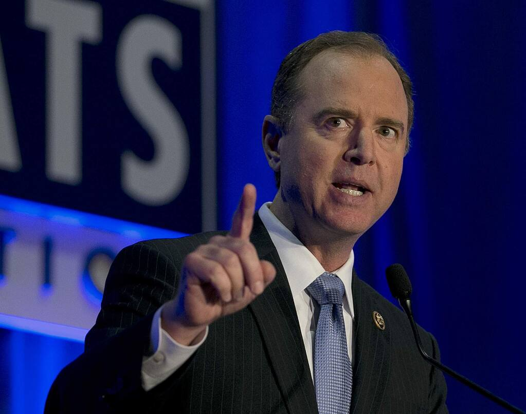 U.S. Rep. Adam Schiff, the ranking Democrat on the House Intelligence Committee addresses the California Democratic Party convention, Saturday, May 20, 2017, in Sacramento, Calif. (AP Photo/Rich Pedroncelli)