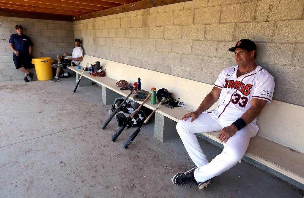 Jose Canseco, former big-league baseball star, was designated hitter for the Sonoma Stompers when they faced off against the San Rafael Pacifics at Arnold Field in Sonoma, Friday, June 12, 2015. (Crista Jeremiason / The Press Democrat)