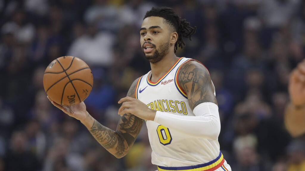 Golden State Warriors guard D'Angelo Russell against the San Antonio Spurs during an NBA basketball game in San Francisco, Friday, Nov. 1, 2019. (AP Photo/Jeff Chiu)
