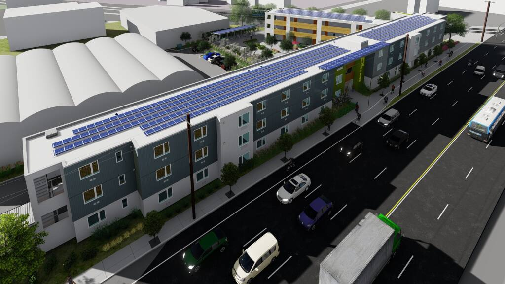 Seen in an overview architectural rendering, the Sage Commons 53-unit studio apartment community on College Avenue in Santa Rosa is designed for those with low incomes and as a permanent shelter for people experiencing homelessness. (Courtesy Photo)