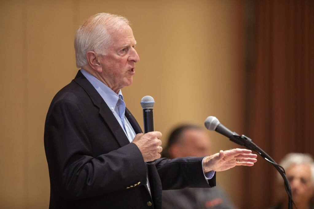 Rep. Mike Thompson spoke about his bill requiring background checks to purchase guns at the World Affairs Council of Sonoma County at the Flamingo Hotel on Friday. (photo by John Burgess/The Press Democrat)