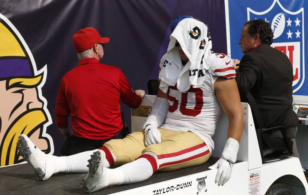 San Francisco 49ers linebacker Brock Coyle is carted off the field after getting injured during the second half of an NFL football game against the Minnesota Vikings, Sunday, Sept. 9, 2018, in Minneapolis. The Vikings won 24-16. (AP Photo/Jim Mone)