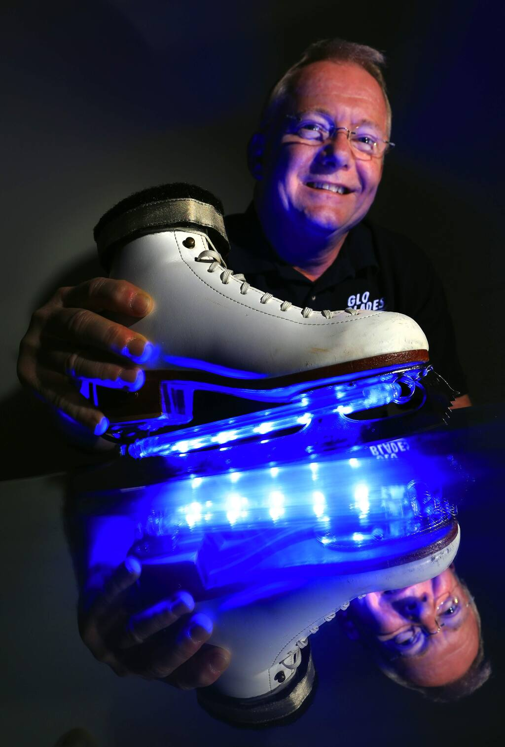 Ralph Haney invented 'Glo-Blades,' a color-changing led light system for ice skatess. (JOHN BURGESS / The Press Democrat)
