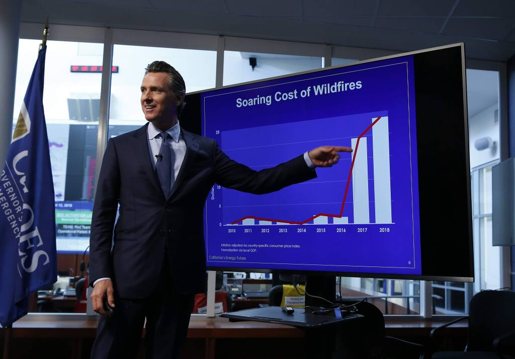 Gov. Gavin Newsom points to graph showing the increase in the risk to wildfires due to climate change. Newsom released a task force report on utilities and wildfires on Friday. (RICH PEDRONCELLI / Associated Press)