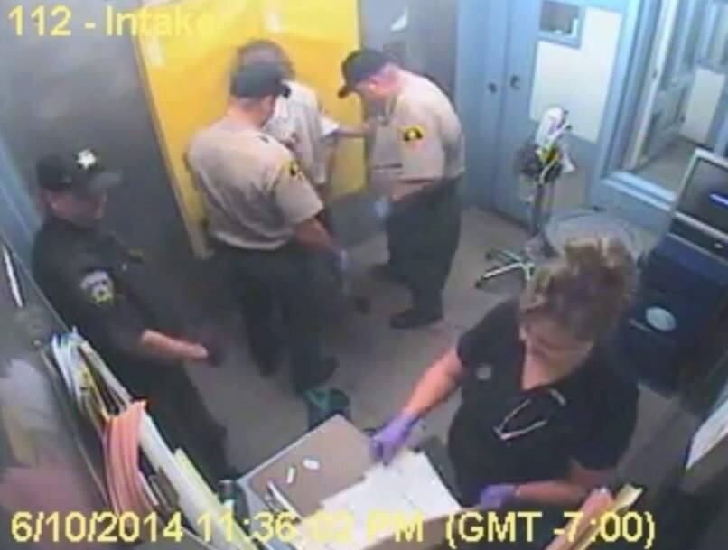 A screenshot from the jail video showing Steven Neuroth.