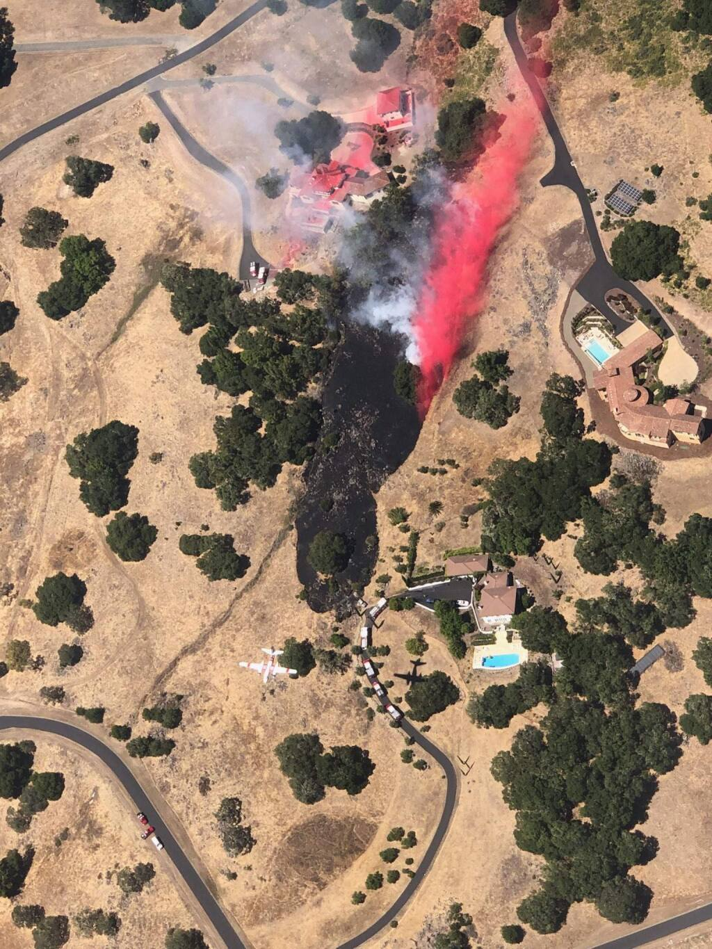 Aerial view of vegetation fire that broke out Saturday, July 13, 2019, in Shiloh Estates east of Windsor. (CAL FIRE)