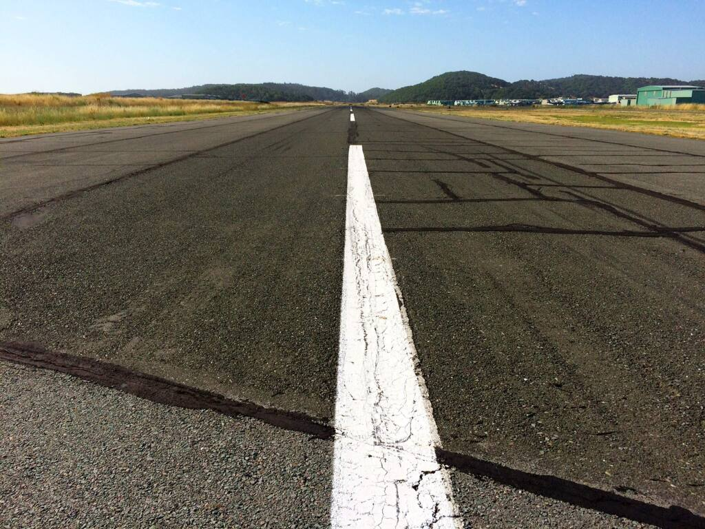 The runway at Marin County's Gnoss Field in Novato was built in 1968 and shows steady signs of deterioration on June 19, 2017. (COUNTY OF MARIN)
