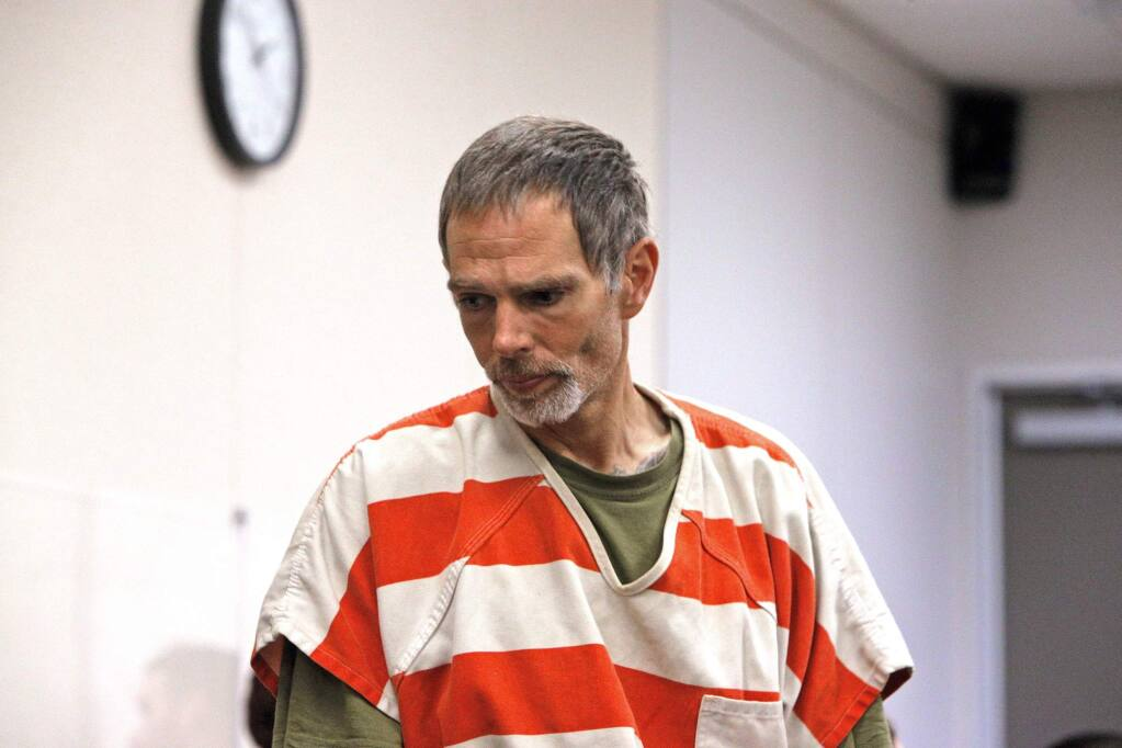 In this Thursday, Nov. 21, 2019 photo, Garrett Scheff appears in court in Salinas, Calif. Police in central California say a pregnant woman was stabbed to death in a random attack outside her home. Police say 26-year-old Mariana Jurado was leaving for work Tuesday morning when 43-year-old Garrett Scheff stabbed her multiple times in a 'random act of violence.' Jurado was taken to a hospital, where she died. Police arrested Scheff shortly afterward on suspicion of first-degree murder. (David Rodriguez/The Californian via AP)