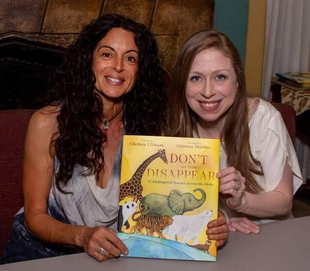 Illustrator Gianna Marino with Chelsea Clinton.