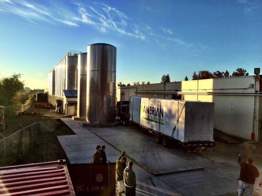 Lagunitas Brewing in Petaluma has installed six Cambrian Innovation microbe-based systems that clean high-strength wastewater while producing biogas and electricity for energy use. (CAMBRIAN INNOVATION)
