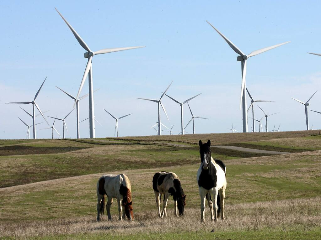 WInd turbines near Rio VIsta in Solano County, 2006. (Scott Manchester/ The Press Democrat)