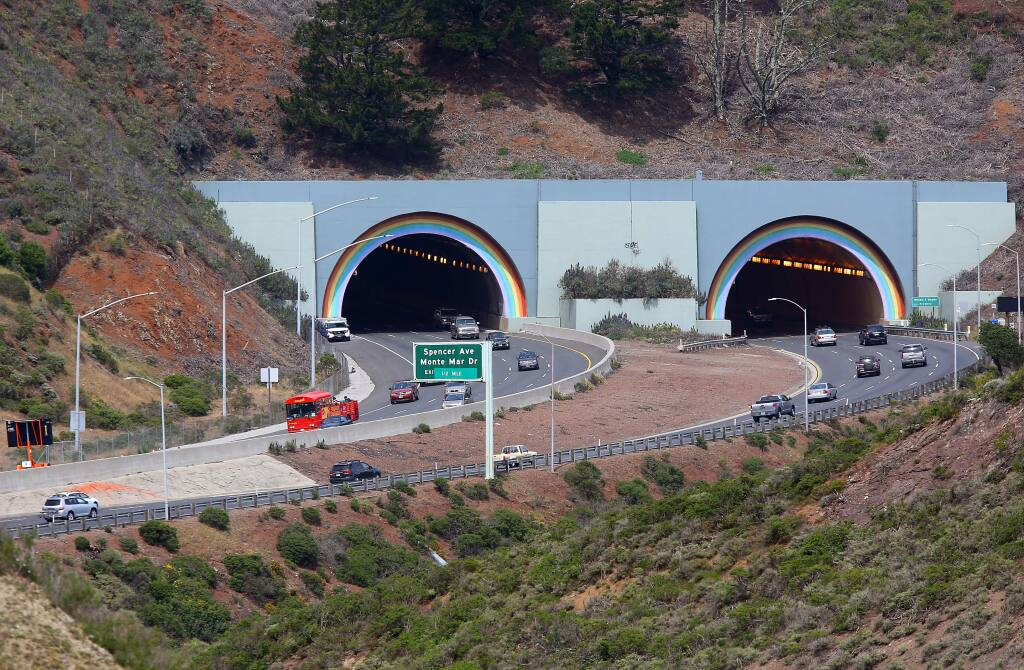 Vehicles make their way along the Waldo Grade through the tunnels, on Highway 101 north of the Golden Gate Bridge, on Monday, April 6, 2015. Assemblyman Marc Levine is seeking to name the tunnels after late entertainer Robin Williams.(Christopher Chung/ The Press Democrat)