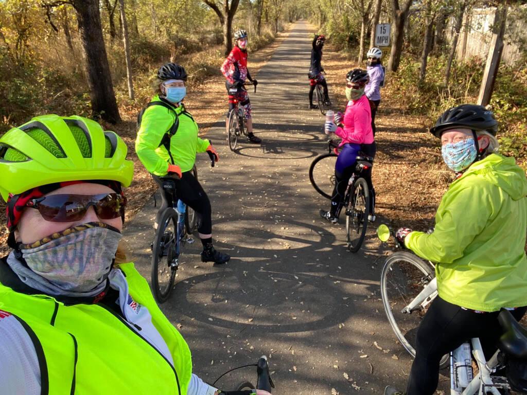 The Sonoma County Biker Chicks ride along the Joe Rodota Trail in 2020. Photo provided.