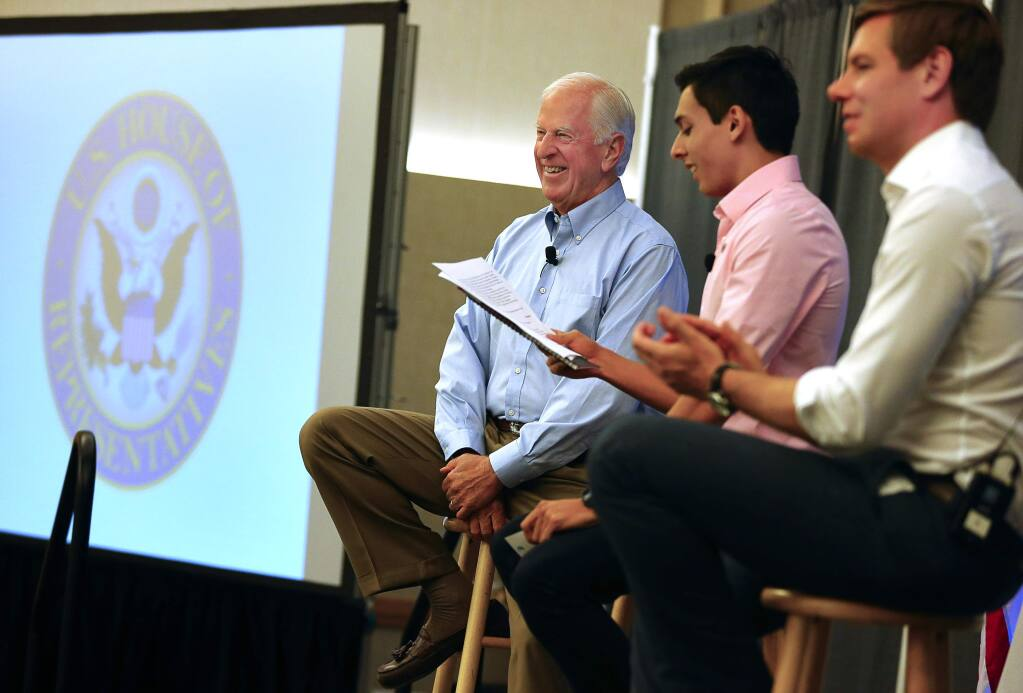 Representative Mike Thompson, left, and Representative Eric Swalwell, right, take part in a Future Forum meeting moderated by Ricky Albanese, vice president for finance, SSU Associated Students, at Sonoma State University, in Rohnert Park, on Thursday, September 1, 2016. (Christopher Chung/ The Press Democrat)
